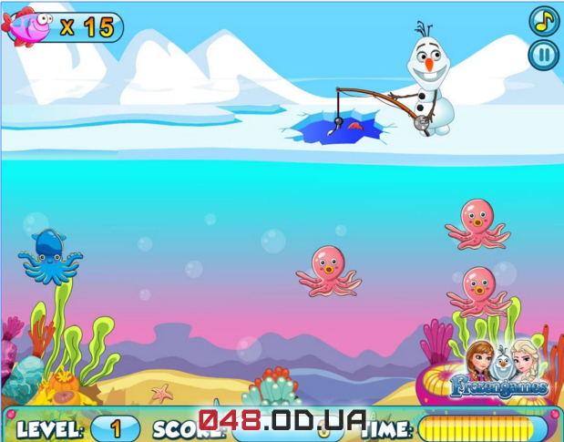 Игра на Андроид fishing with frozen snowman