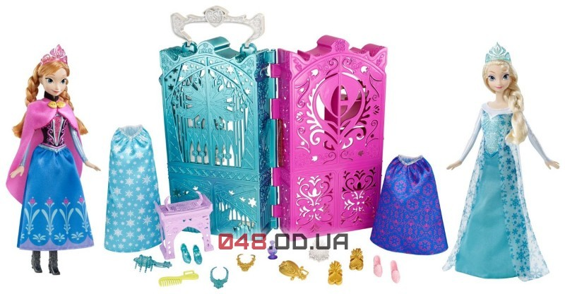 Подарочный набор куклы Эльза и Анна Mattel + шкаф с одеждой и аксессуарами