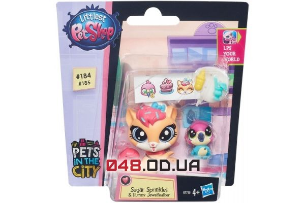 Игровой набор littlest pet shop кошечка Сахарок и птичка с аксессуарами B7750