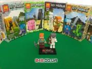 LELE аналог ЛЕГО Minecraft Минифигурки Алекс с луком и Скелет в железном шлеме (79254-5)
