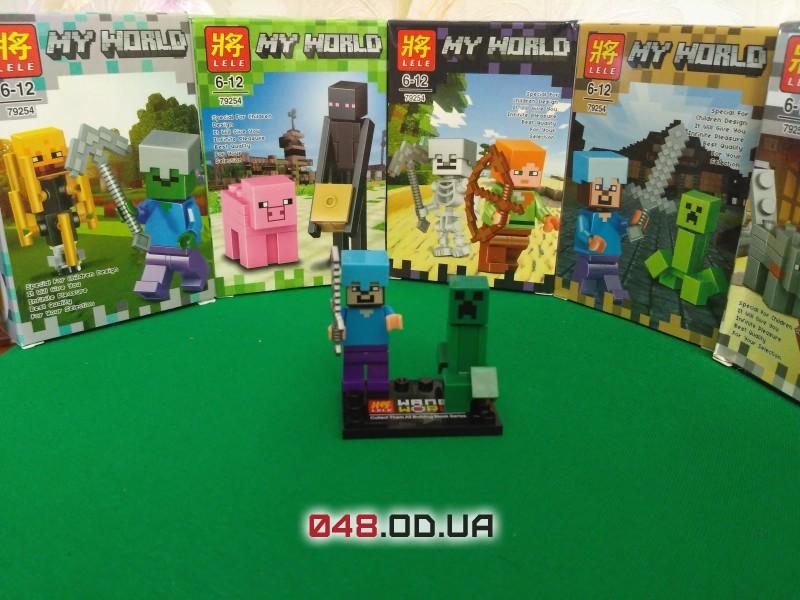 LELE аналог ЛЕГО Minecraft Минифигурки Стив в алмазном шлеме и мечом и Крипер (79254-3)