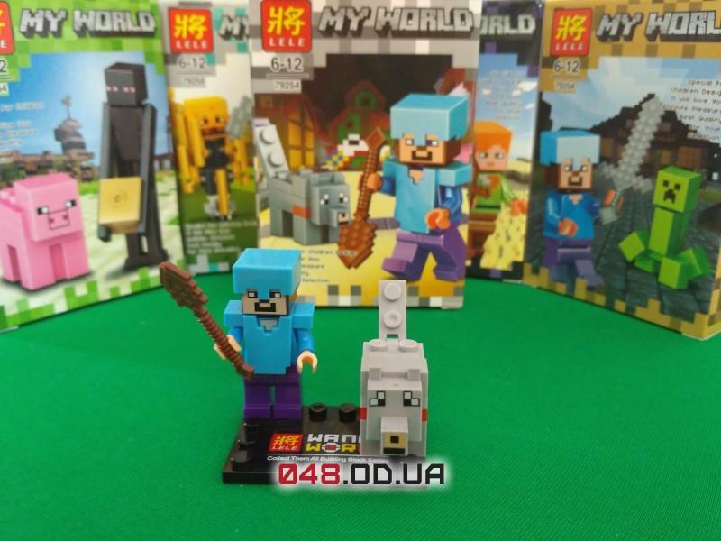 LELE аналог ЛЕГО Minecraft Минифигурки Стив в алмазной броне и Волк (79254-7)