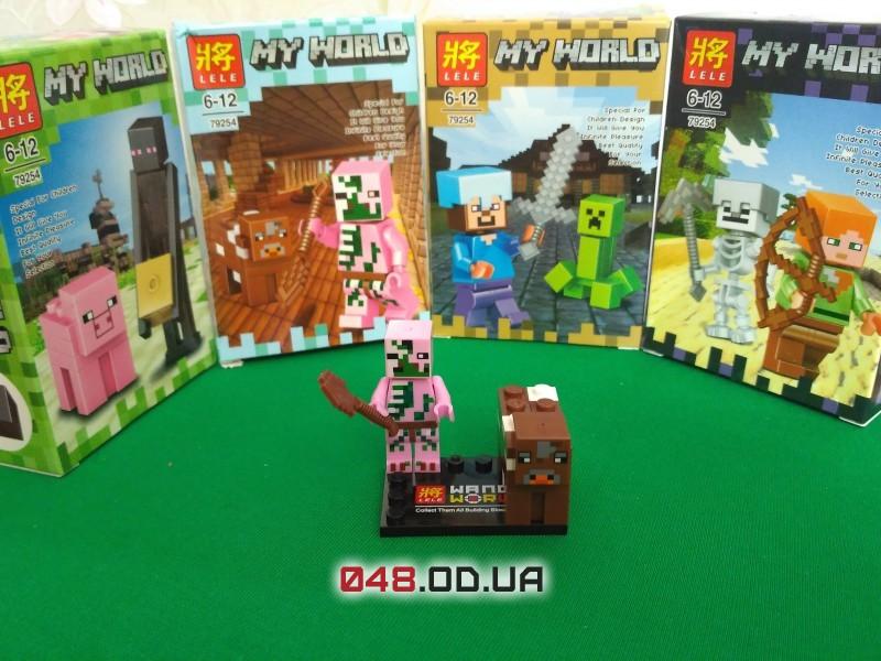 LELE аналог ЛЕГО Minecraft Минифигурки Свино-зомби и Корова (79254-4)