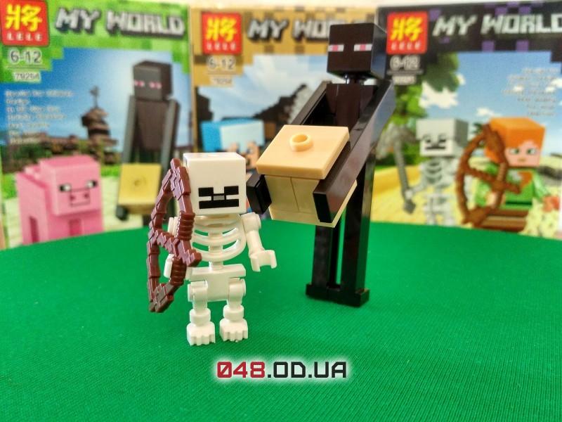 LELE аналог ЛЕГО Minecraft Минифигурки Странник Края/Эндермен и Скелет с луком (93001-8)