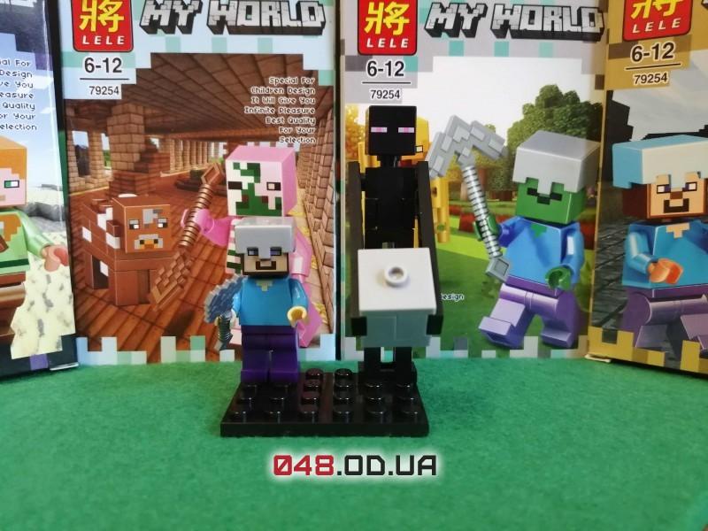 LELE аналог ЛЕГО Minecraft Минифигурки Стив в железном шлеме и Странник края/Эндермен (79254-9)