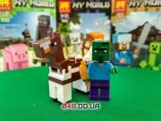 LELE аналог ЛЕГО Minecraft Минифигурки Зомби-житель наездник с золотым топором и Лошадь (93001-3)