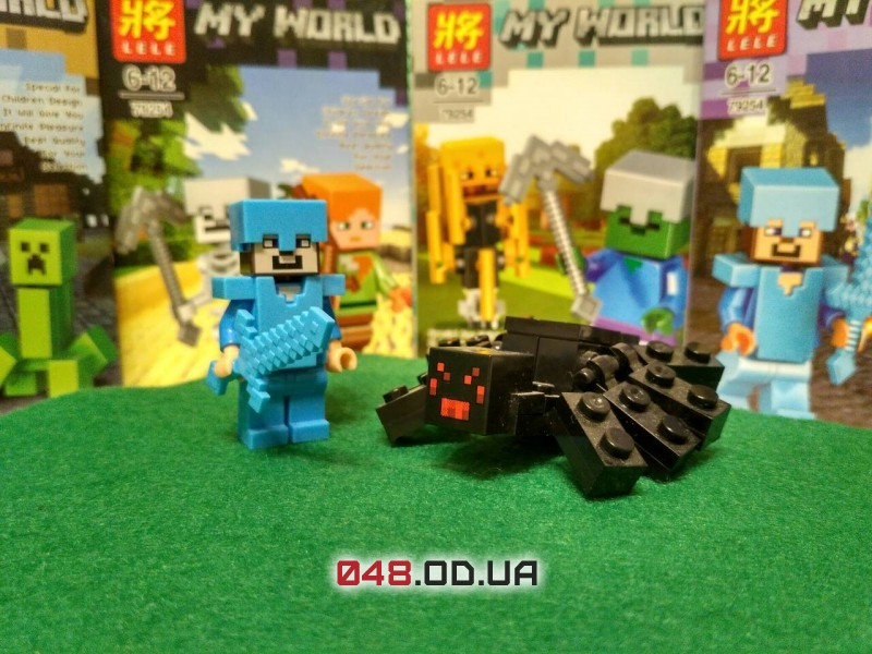 LELE аналог ЛЕГО Minecraft Минифигурки Стив в алмазной броне и Пещерный паук  (93002-5)