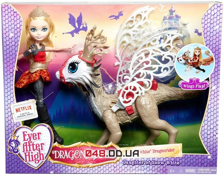 Игровой набор Ever After High кукла Эпл Вайт с драконом из серии