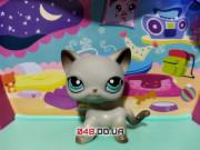 Фигурка Littlest pet shop кошка-стоячка серая с зелеными глазами