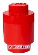 LEGO бокс для хранения конструктора круглый, красный (13x20 см)
