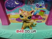 Фигурка Littlest pet shop кошка-стоячка оранжевая с блестящими полосками