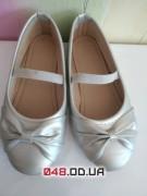 Нарядные серебрянные балетки туфельки на праздник, новый год (28 размер)