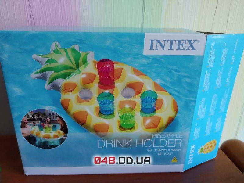Надувной плавающий держатель для напитков Ананас 97 58см 57505 INTEX