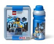Ланч бокс LEGO CITY синий: коробка + бутылка