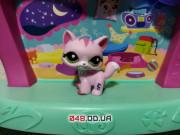 Фигурка Littlest pet shop кошка-стоячка розовая с малиновыми полосками