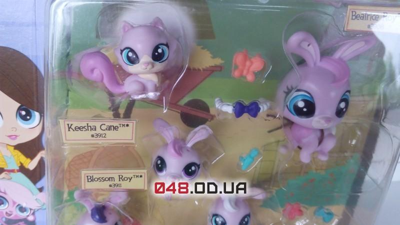 Игровой набор Littlest pet shop Удивительная семейка кроликов и котенок B1902/B1959