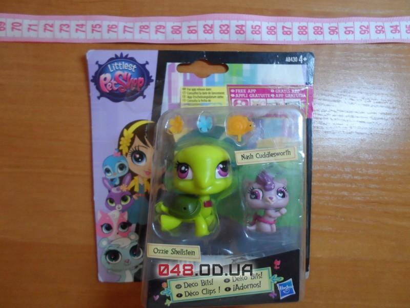 Игровой набор Littlest pet shop Hasbro Зверушка и ее малыш - Ozzie Shellstein & Nash Cuddlesworth (черепаха и котенок)
