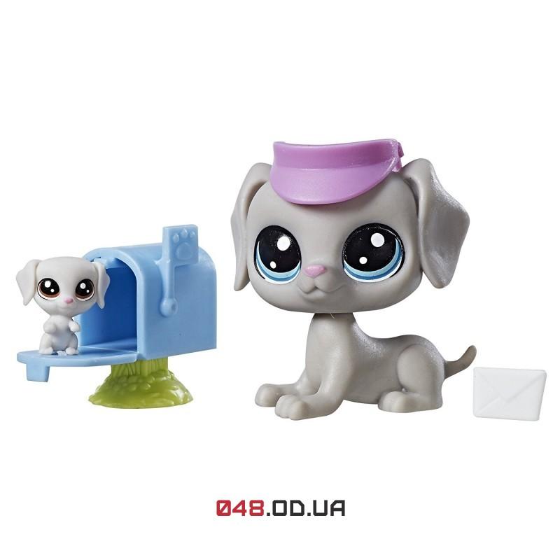 Игровой набор Littlest pet shop собачка и щенок почтальоны Bill Weimaran/Bertie Weimaran  C1168/