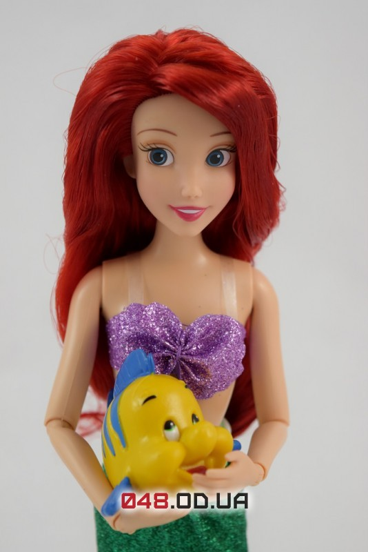 Кукла принцесса Дисней русалочка Ариэль с питомцем (рыбка Флаундер) 30 см.