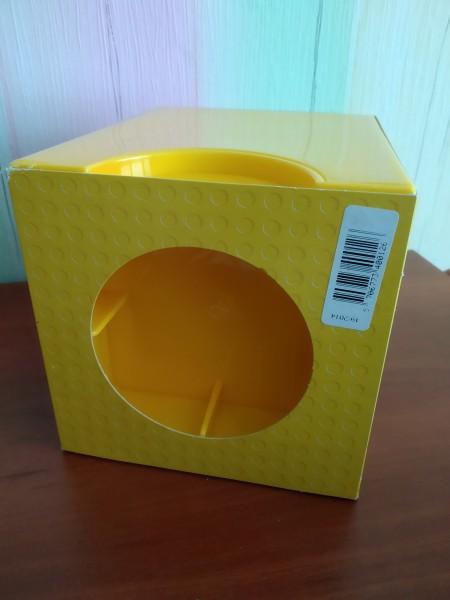 Lego бокс для хранения конструктора, желтый (13x13x20 см)