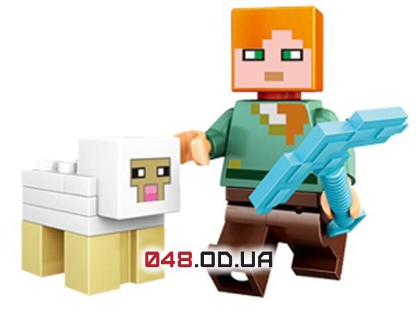 LELE аналог ЛЕГО Minecraft Минифигурки Алекс с алмазной киркой и Овца (93001-4)