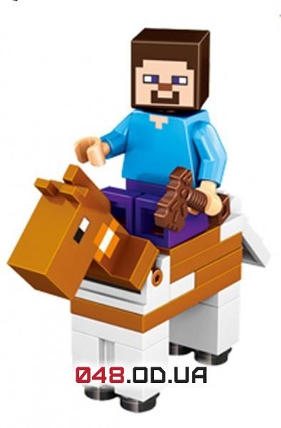 LELE аналог ЛЕГО Minecraft Минифигурки Стив с топором и Лошадь (93001-7)