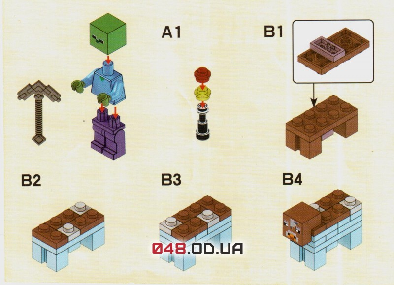 LELE аналог ЛЕГО Minecraft Минифигурки Зомби с железной киркой, корова и факел (79018-3)