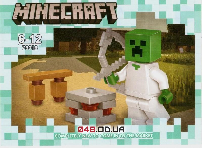 LELE аналог ЛЕГО Minecraft Минифигурки Зомби врач/доктор с луком и скамейка с ловушкой (79018-4)
