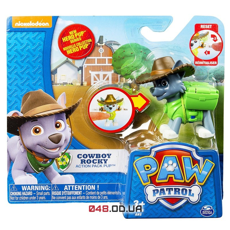Мини-фигурка Роки-ковбой Spin master Щенячий патруль (Paw Patrol) с механической функцией