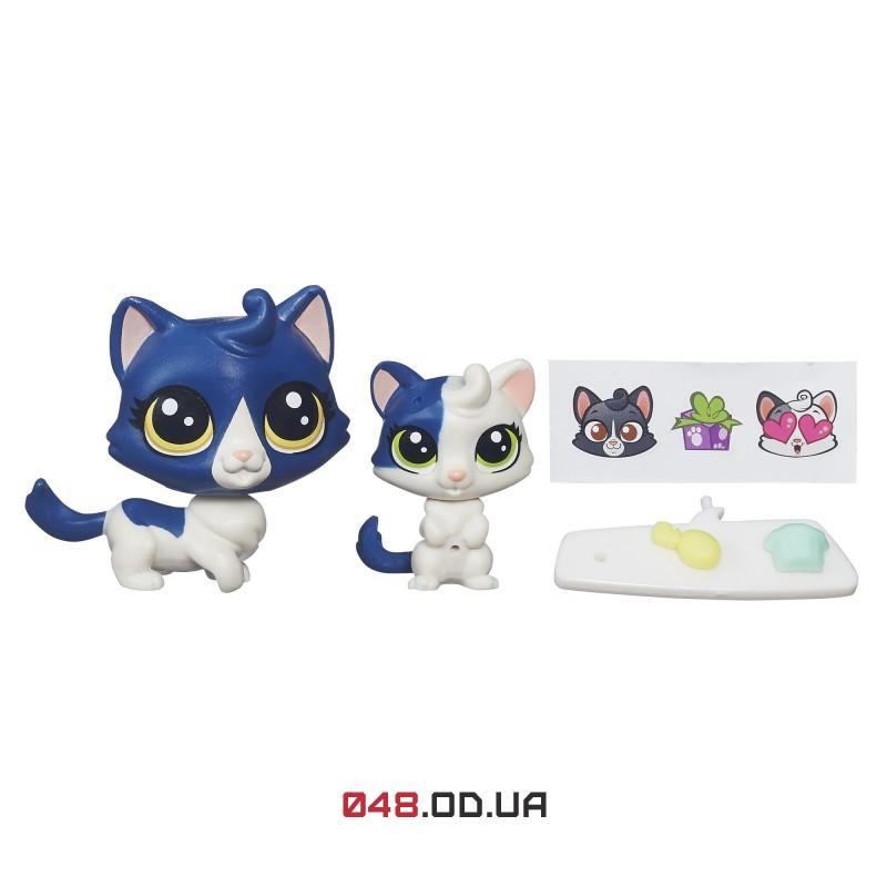 набор Littlest pet shop Зверюшка и ее малыш Кошечка и котенок с аксессуарами, B4763