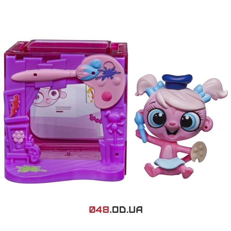 Тематический набор Littlest Pet Shop Минка Марк обезьянка-художница и ее комната B0112